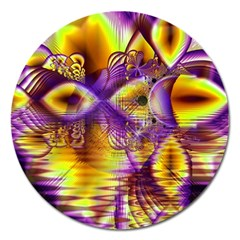 Golden Violet Crystal Palace, Abstract Cosmic Explosion Magnet 5  (round)