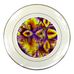 Golden Violet Crystal Palace, Abstract Cosmic Explosion Porcelain Display Plate by DianeClancy