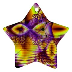 Golden Violet Crystal Palace, Abstract Cosmic Explosion Star Ornament (two Sides) by DianeClancy