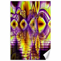 Golden Violet Crystal Palace, Abstract Cosmic Explosion Canvas 12  X 18  (unframed) by DianeClancy