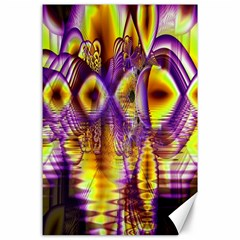 Golden Violet Crystal Palace, Abstract Cosmic Explosion Canvas 24  X 36  (unframed) by DianeClancy
