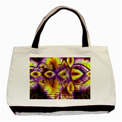 Golden Violet Crystal Palace, Abstract Cosmic Explosion Twin Sided Black Tote Bag by DianeClancy