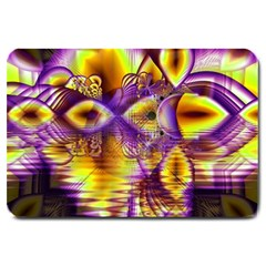 Golden Violet Crystal Palace, Abstract Cosmic Explosion Large Door Mat by DianeClancy