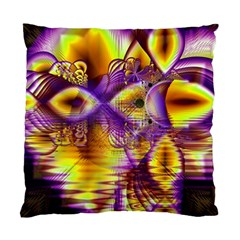 Golden Violet Crystal Palace, Abstract Cosmic Explosion Cushion Case (two Sided)  by DianeClancy