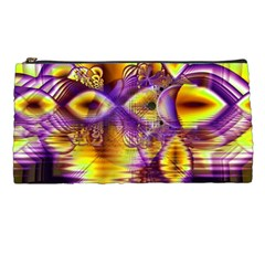 Golden Violet Crystal Palace, Abstract Cosmic Explosion Pencil Case