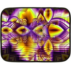 Golden Violet Crystal Palace, Abstract Cosmic Explosion Mini Fleece Blanket (two Sided) by DianeClancy