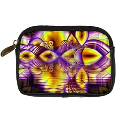 Golden Violet Crystal Palace, Abstract Cosmic Explosion Digital Camera Leather Case by DianeClancy