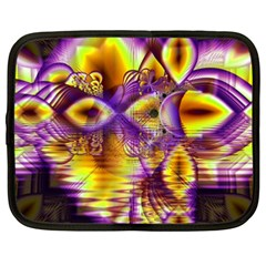 Golden Violet Crystal Palace, Abstract Cosmic Explosion Netbook Sleeve (xxl) by DianeClancy