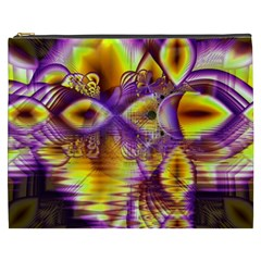 Golden Violet Crystal Palace, Abstract Cosmic Explosion Cosmetic Bag (xxxl) by DianeClancy