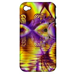 Golden Violet Crystal Palace, Abstract Cosmic Explosion Apple Iphone 4/4s Hardshell Case (pc+silicone) by DianeClancy