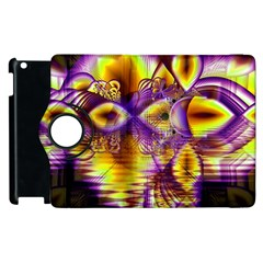 Golden Violet Crystal Palace, Abstract Cosmic Explosion Apple Ipad 3/4 Flip 360 Case by DianeClancy