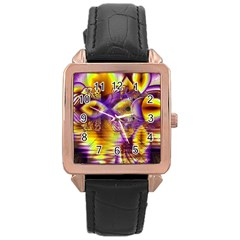 Golden Violet Crystal Palace, Abstract Cosmic Explosion Rose Gold Leather Watch  by DianeClancy