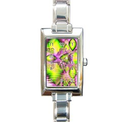 Raspberry Lime Mystical Magical Lake, Abstract  Rectangular Italian Charm Watch by DianeClancy