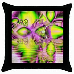 Raspberry Lime Mystical Magical Lake, Abstract  Black Throw Pillow Case by DianeClancy