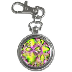 Raspberry Lime Mystical Magical Lake, Abstract  Key Chain Watch by DianeClancy