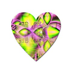 Raspberry Lime Mystical Magical Lake, Abstract  Magnet (heart) by DianeClancy