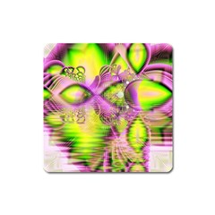 Raspberry Lime Mystical Magical Lake, Abstract  Magnet (square) by DianeClancy