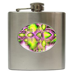 Raspberry Lime Mystical Magical Lake, Abstract  Hip Flask by DianeClancy