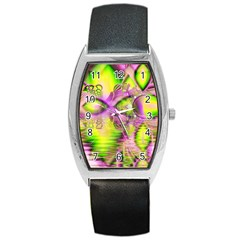 Raspberry Lime Mystical Magical Lake, Abstract  Tonneau Leather Watch