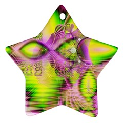 Raspberry Lime Mystical Magical Lake, Abstract  Star Ornament (two Sides) by DianeClancy
