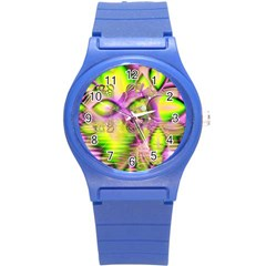 Raspberry Lime Mystical Magical Lake, Abstract  Plastic Sport Watch (small) by DianeClancy