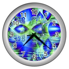 Irish Dream Under Abstract Cobalt Blue Skies Wall Clock (silver) by DianeClancy