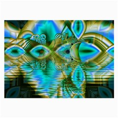Crystal Gold Peacock, Abstract Mystical Lake Glasses Cloth (large) by DianeClancy