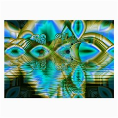 Crystal Gold Peacock, Abstract Mystical Lake Glasses Cloth (large, Two Sided) by DianeClancy