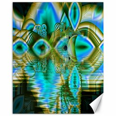 Crystal Gold Peacock, Abstract Mystical Lake Canvas 11  X 14  (unframed) by DianeClancy