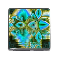 Crystal Gold Peacock, Abstract Mystical Lake Memory Card Reader With Storage (square) by DianeClancy