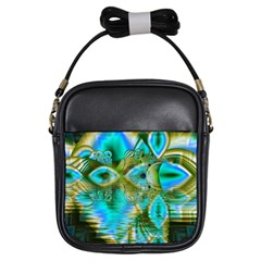 Crystal Gold Peacock, Abstract Mystical Lake Girl s Sling Bag by DianeClancy