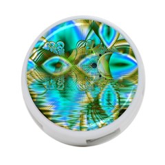 Crystal Gold Peacock, Abstract Mystical Lake 4 Port Usb Hub (one Side) by DianeClancy