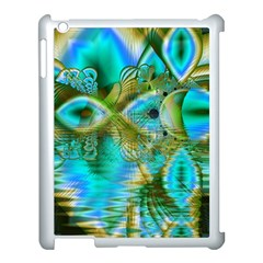 Crystal Gold Peacock, Abstract Mystical Lake Apple Ipad 3/4 Case (white) by DianeClancy