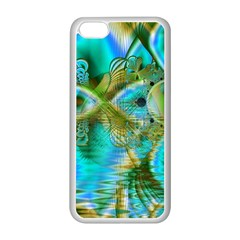 Crystal Gold Peacock, Abstract Mystical Lake Apple Iphone 5c Seamless Case (white) by DianeClancy