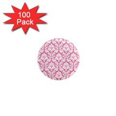 White On Soft Pink Damask 1  Mini Button Magnet (100 Pack) by Zandiepants