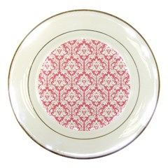 White On Soft Pink Damask Porcelain Display Plate by Zandiepants
