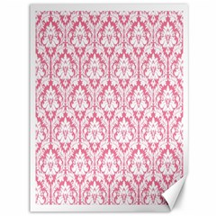White On Soft Pink Damask Canvas 36  X 48  (unframed) by Zandiepants