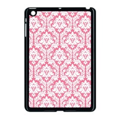 White On Soft Pink Damask Apple Ipad Mini Case (black) by Zandiepants