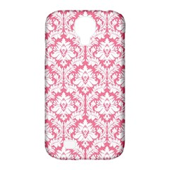 White On Soft Pink Damask Samsung Galaxy S4 Classic Hardshell Case (pc+silicone) by Zandiepants