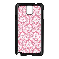 White On Soft Pink Damask Samsung Galaxy Note 3 N9005 Case (black) by Zandiepants