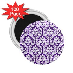 White On Purple Damask 2 25  Button Magnet (100 Pack) by Zandiepants