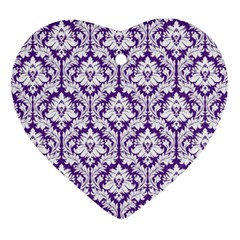 White On Purple Damask Heart Ornament (two Sides) by Zandiepants
