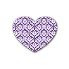 White On Purple Damask Drink Coasters 4 Pack (heart)