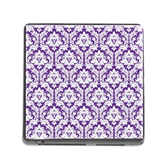 White On Purple Damask Memory Card Reader With Storage (square) by Zandiepants