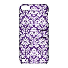 White On Purple Damask Apple Ipod Touch 5 Hardshell Case With Stand by Zandiepants