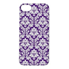 White On Purple Damask Apple Iphone 5s Hardshell Case by Zandiepants