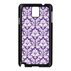 White On Purple Damask Samsung Galaxy Note 3 N9005 Case (black)