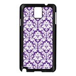 White on Purple Damask Samsung Galaxy Note 3 N9005 Case (Black) Front