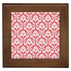White On Red Damask Framed Ceramic Tile