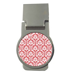 White On Red Damask Money Clip (round) by Zandiepants